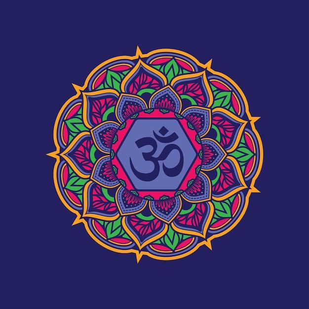 Modèle De Mandala Décoratif Coloré Avec Symbole Om. Vecteur Premium