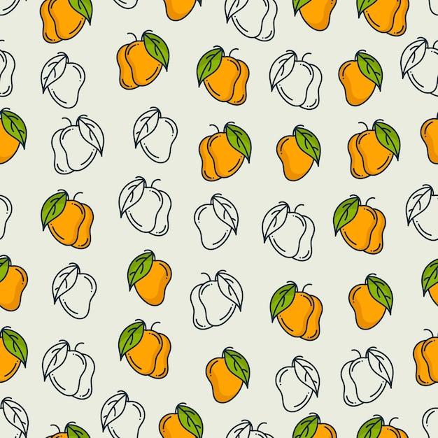 Modèle de mangue. fond transparent Vecteur Premium