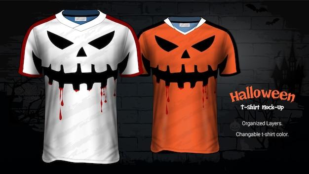 Modèle de maquette de costume de t-shirts de costume d'halloween Vecteur Premium