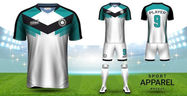 Modèle de maquette de présentation du maillot de football et du kit de football Vecteur Premium