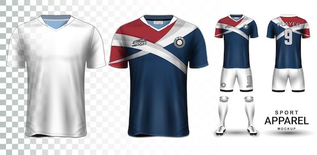Modèle de maquette de présentation de maillot de football et kit de football Vecteur Premium