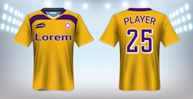 Modèle de maquette de t-shirt de football Vecteur Premium