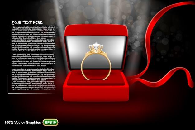 Le Modèle De Mariage Avec Une Bague Est Prêt à être Converti à Vos Besoins. Maquette Réaliste Vecteur Premium