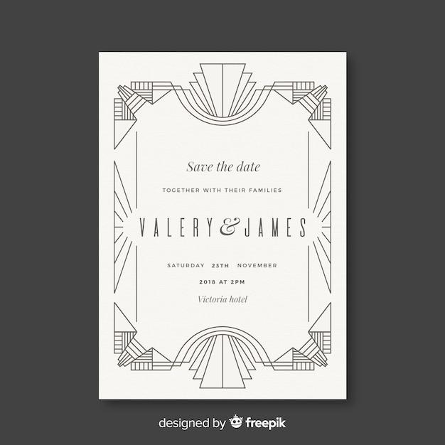 Modèle de mariage blanc dans un style art déco Vecteur gratuit