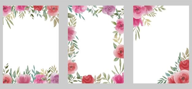 Modèle De Mariage Avec Bouquet De Fleurs Aquarelle Vecteur Premium