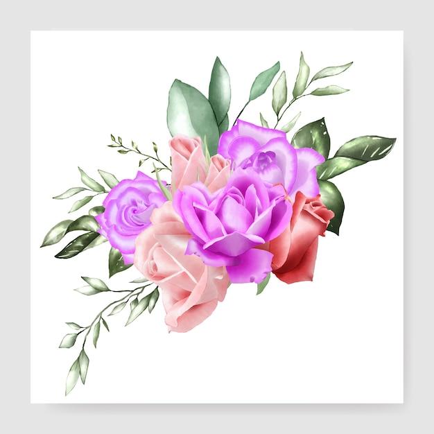 Modèle de mariage bouquet floral aquarelle Vecteur Premium