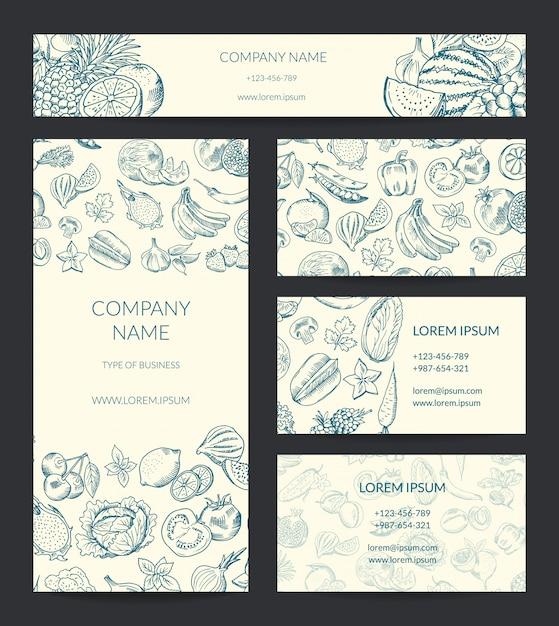 Modèle de marque sertie de fruits et de légumes esquissés doodle. Vecteur Premium