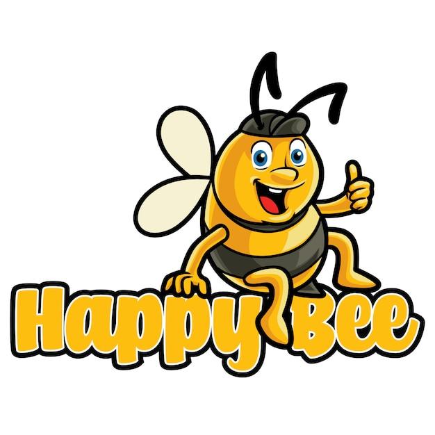 Modèle De Mascotte De Logo D'abeille Heureuse Vecteur Premium