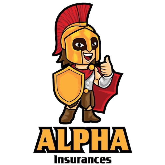 Modèle De Mascotte De Logo D'assurance Guerrier Vecteur Premium