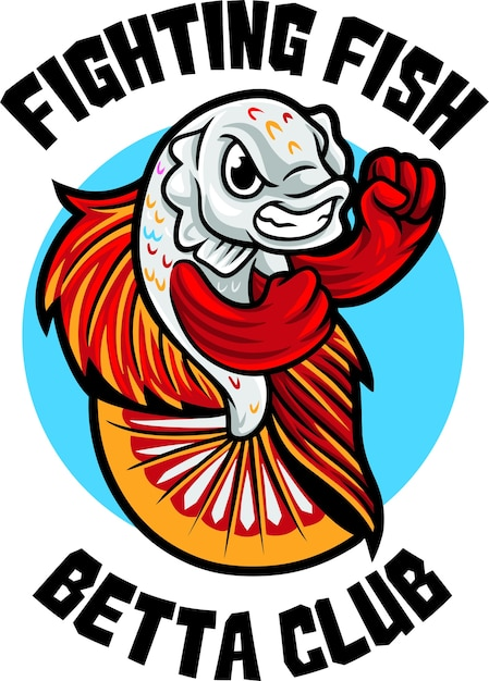 Modèle De Mascotte De Logo Betta Fish Club Vecteur Premium