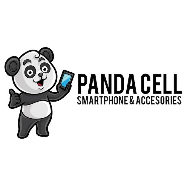 Modèle De Mascotte De Logo Cellulaire Panda Vecteur Premium