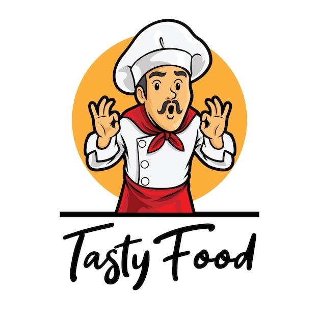 Modèle De Mascotte De Logo De Chef De Nourriture Savoureuse Vecteur Premium
