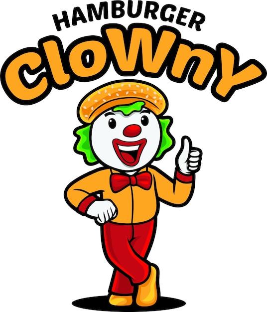 Modèle De Mascotte De Logo De Clown Hamburger Vecteur Premium