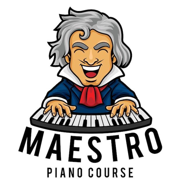 Modèle De Mascotte De Logo De Cours De Piano Vecteur Premium