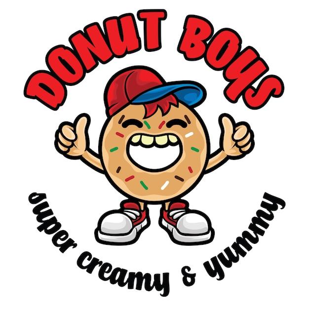 Modèle De Mascotte De Logo Donut Boy Vecteur Premium