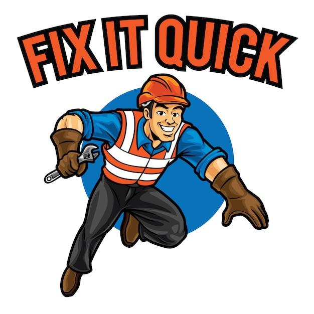Modèle De Mascotte De Logo Fix It Quick Vecteur Premium
