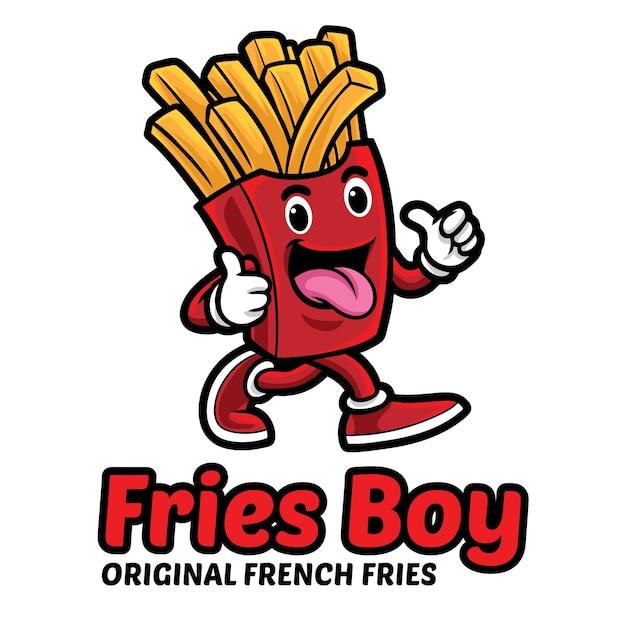 Modèle De Mascotte De Logo Garçon Frites Vecteur Premium