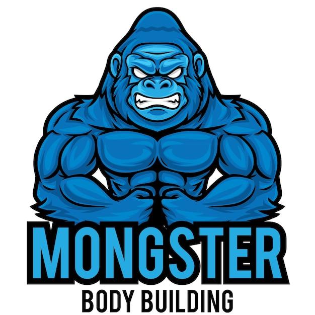 Modèle De Mascotte De Logo Gorilla Gym Vecteur Premium
