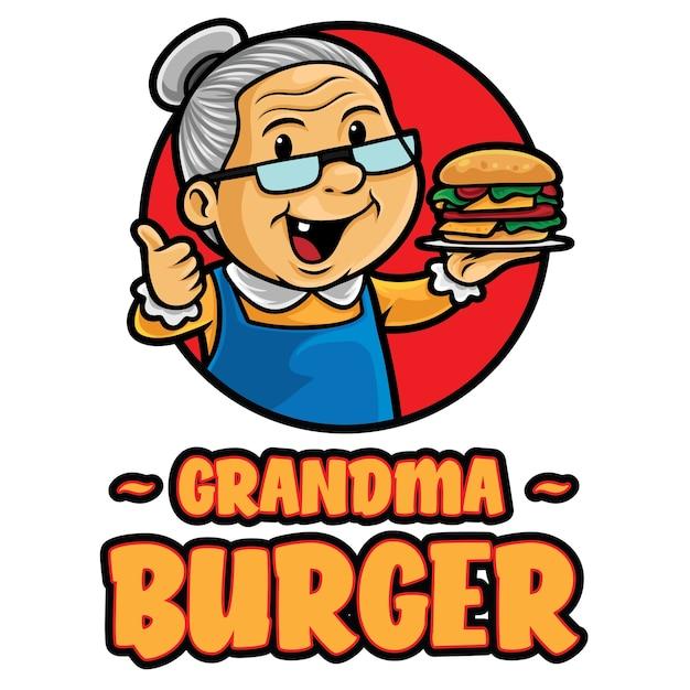Modèle De Mascotte De Logo De Grand-mère Burger Vecteur Premium