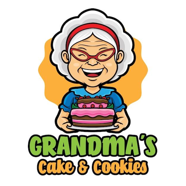 Modèle De Mascotte De Logo De Grand-mère Vecteur Premium