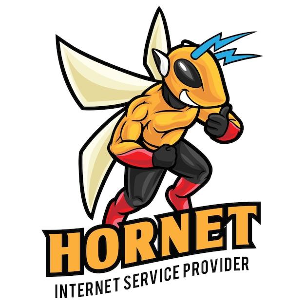 Modèle De Mascotte De Logo Hornet Internet Service Vecteur Premium