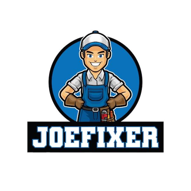 Modèle De Mascotte De Logo Joe Fixer Vecteur Premium