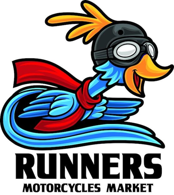 Modèle De Mascotte De Logo De Magasin De Moto Bird Runner Vecteur Premium