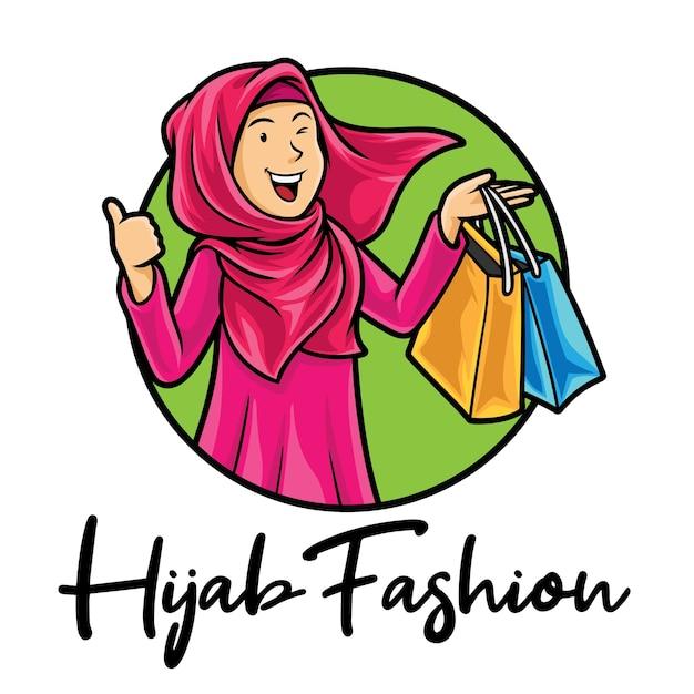 Modèle De Mascotte De Logo De Mode Musulman Hijab Vecteur Premium