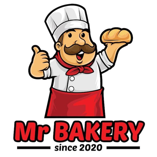 Modèle De Mascotte De Logo De Pain De Boulangerie Vecteur Premium