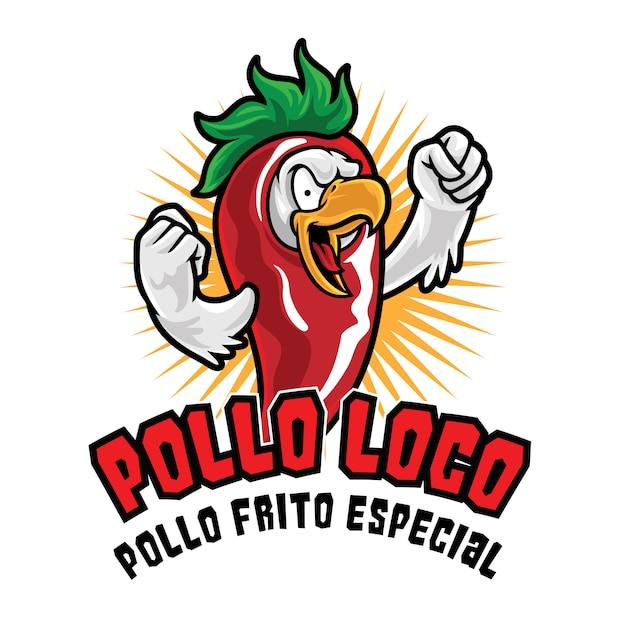Modèle De Mascotte De Logo De Poulet Pollo Loco Vecteur Premium