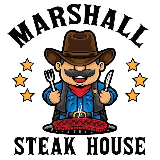 Modèle De Mascotte De Logo De Restaurant Steak House Vecteur Premium