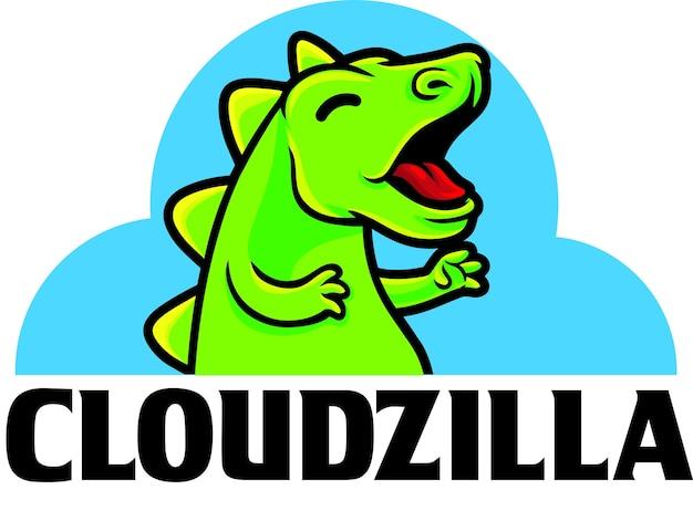 Modèle De Mascotte De Logo De Serveur Numérique Cloudzilla Vecteur Premium