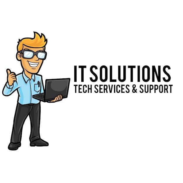 Modèle De Mascotte De Logo De Service Informatique Vecteur Premium