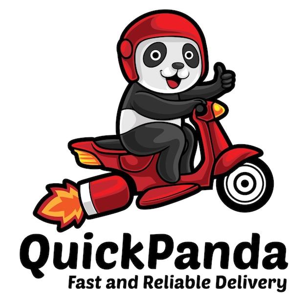 Modèle De Mascotte De Logo De Service Rapide Panda Vecteur Premium