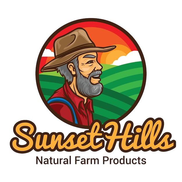 Modèle De Mascotte De Logo Sunset Hill Farmer Vecteur Premium