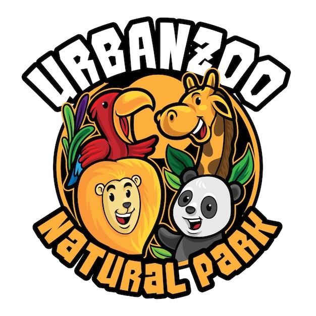 Modèle De Mascotte De Logo De Zoo Isolé Sur Blanc Vecteur Premium