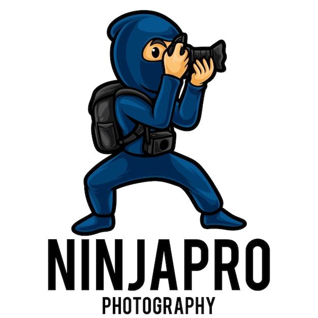 Modèle De Mascotte De Photographe Ninja Logo Vecteur Premium