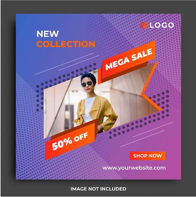 Modèle de média social modern sale fashion Vecteur Premium