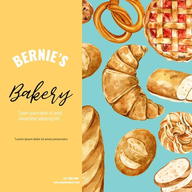 Modèle de médias sociaux de boulangerie. collection de pain et brioche. fait maison Vecteur gratuit