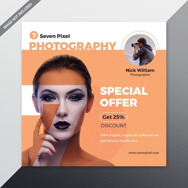 Modèle de médias sociaux de photographie Vecteur Premium