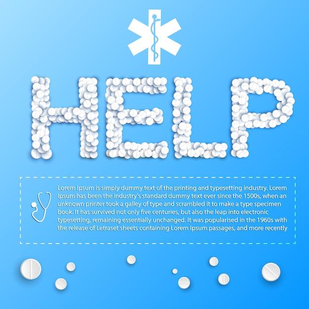 Modèle Médical Bleu Avec Aide D'inscription De Pilules Et Place Pour Votre Illustration De Texte Vecteur gratuit