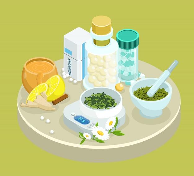 Modèle De Médicaments De Traitement Alternatif Isométrique Avec Des Ingrédients D'herbes Naturelles Vecteur gratuit
