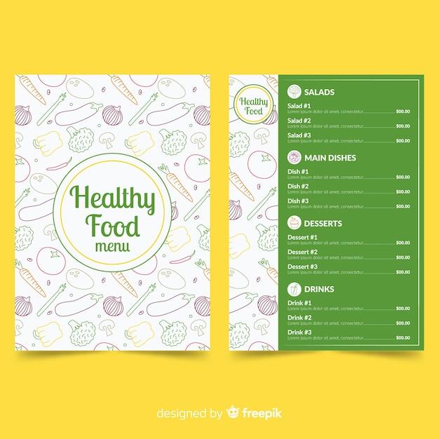 Modèle de menu des aliments sains Vecteur gratuit