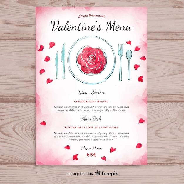 Modèle de menu aquarelle saint valentin Vecteur gratuit