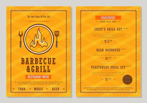Modèle De Menu Barbecue Et Grill Vecteur Premium