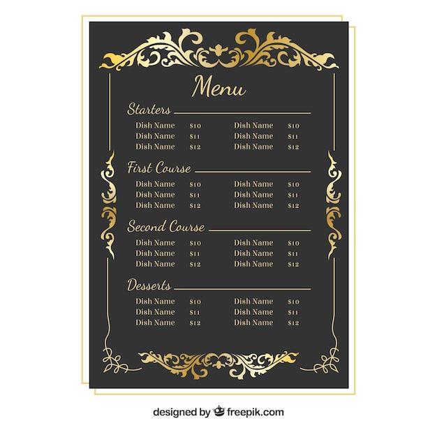 Modèle de menu baroque avec cadre doré Vecteur gratuit