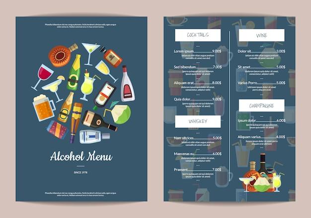 Modèle de menu avec des boissons alcoolisées dans des verres et des bouteilles Vecteur Premium