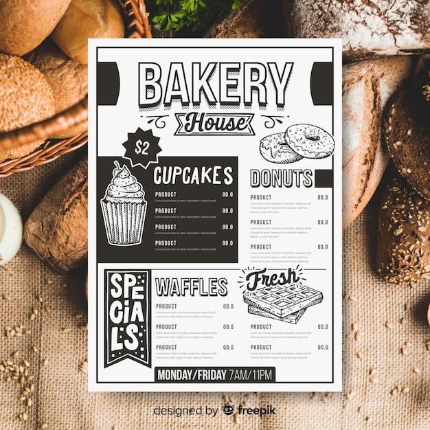 Modèle de menu de boulangerie rétro Vecteur gratuit