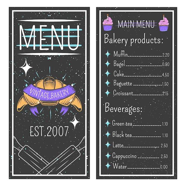 Modèle de menu de boulangerie vintage Vecteur gratuit