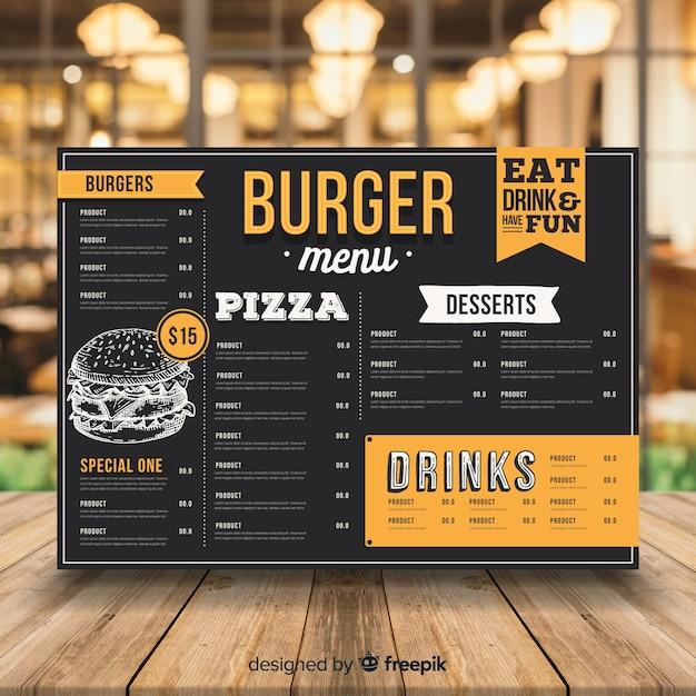 Modèle de menu burger vintage Vecteur gratuit